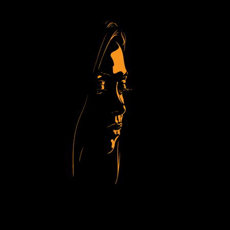 Woman face silhouette in contrast back light. Illustration.