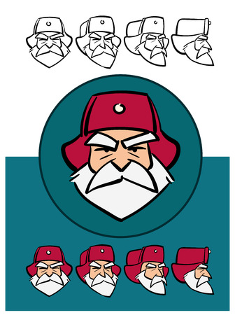 Angry russian Santa Claus. Cartoon style. Character constructor with various views. Animation Kit. Vector set.
