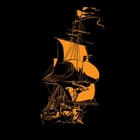 Sailing Ship vintage frigate on the waves. Silhouette in contrast light. Vector. Illustration. Illustration