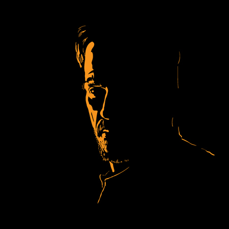Man portrait silhouette in backlight. Illustration