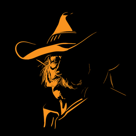 Vecchio con cappello da cowboy e baffi. Illustrazione. Vettoriali