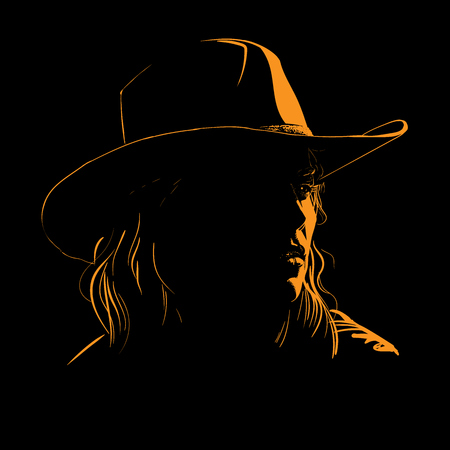 Girl with cowboy hat silhouette in contrast back light. Illustration