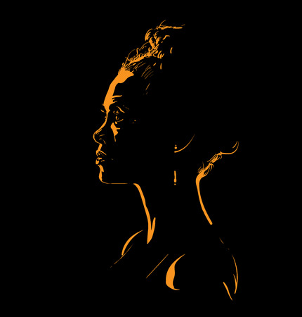 Woman face silhouette in back light.