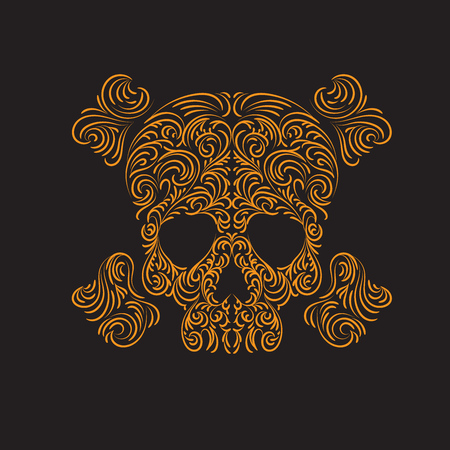Tracery wave pattern skull. Vector