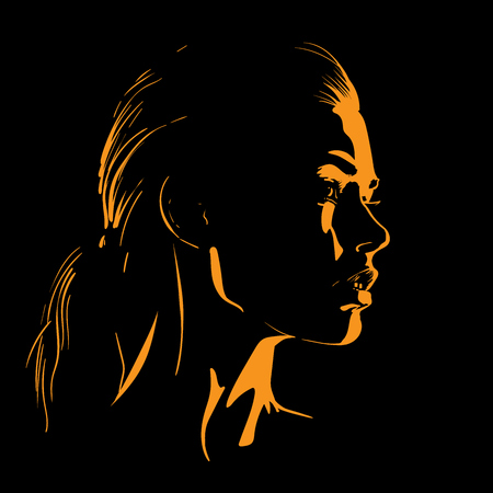 Beauty Woman Face silhouette in contrast backlight. Vector. Illustration. Ilustrace