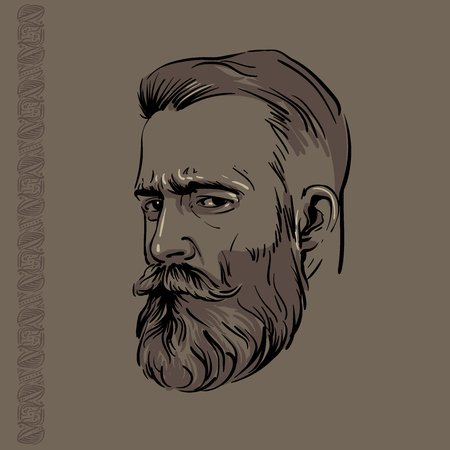 Hipster Man portrait with beard and pattern. Illustration.