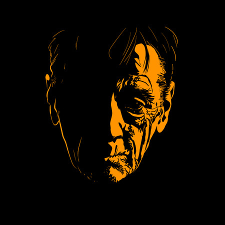 Old man face portrait silhouette in contrast light. Vector. Illustration.