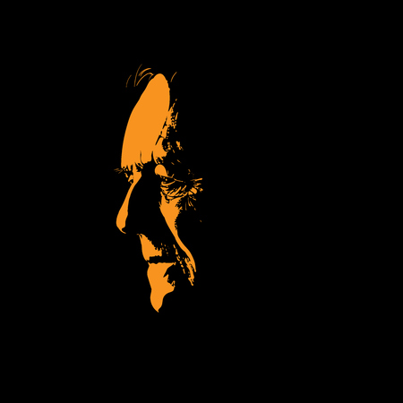 Old man portrait silhouette in contrast backlight. Illustration.