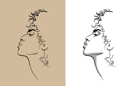 African woman portait. Digital Sketch. Hand Drawing Vector. Illustration.