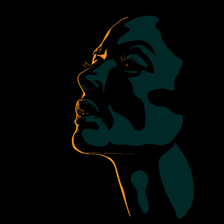 Woman face silhouette in contrast backlight. Vector. Illustration. Orange and Teal Color. Ilustrace