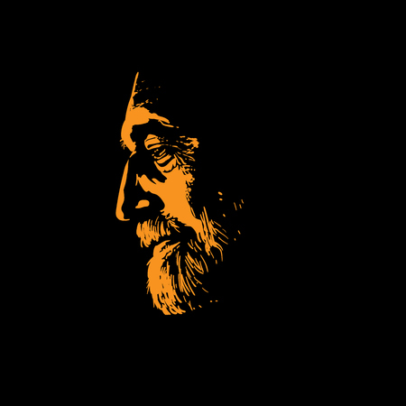 Old man portrait silhouette in backlight. Vector. Illustration.
