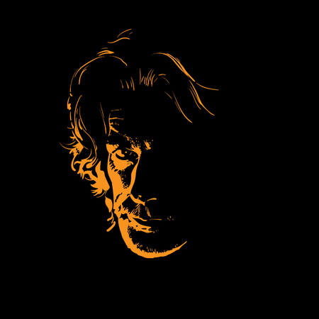 Man portrait silhouette in backlight. Vector. Illustration. 向量圖像