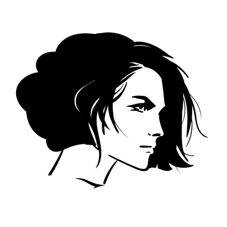 Bob hairstyle beautiful woman portrait. Looking over her shoulder. Black and white style. Illustration.