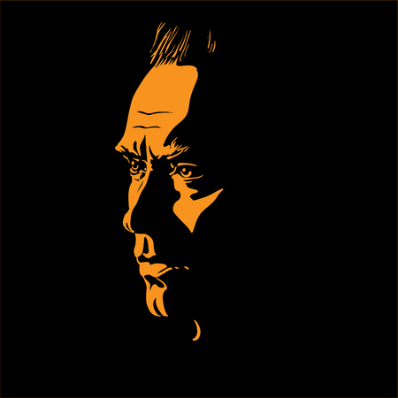 Man portrait silhouette in backlight. Contrast face. Vector. Illustration