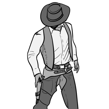 Man with cowboy hat and gun. Western Gunfighter. Digital sketch hand drawing vector.