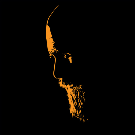 Old Man with beard. Portrait silhouette in backlight. Illustration.