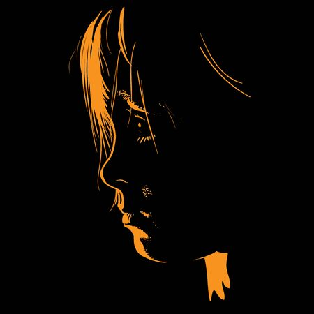 Child portrait in contrast backlight. Face Contour. Baby silhouette. Illustration.