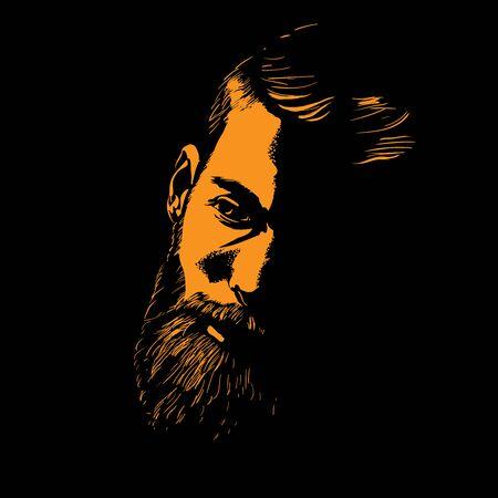 Bearded Man portrait silhouette in contrast backlight. Illustration. Ilustração