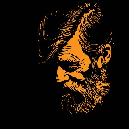 Bearded Man portrait silhouette in contrast backlight. Illustration. Illustration