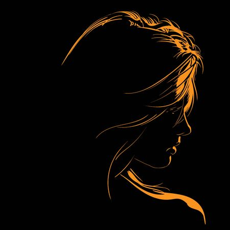 Beauty Woman Face silhouette in contrast backlight. Illustration.