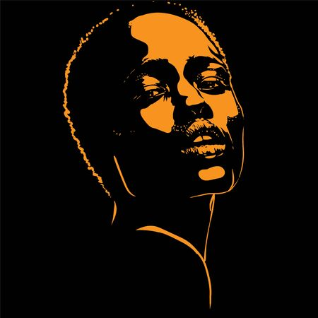 African woman portrait silhouette in contrast backlight. Vector. Illustration.