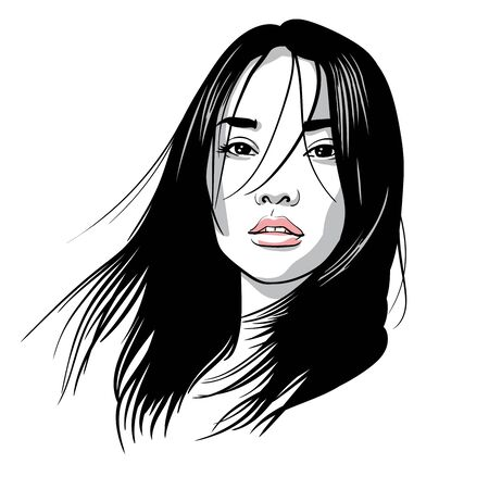Asian girl portrait. Vector. Black and white ink style. Illustration.
