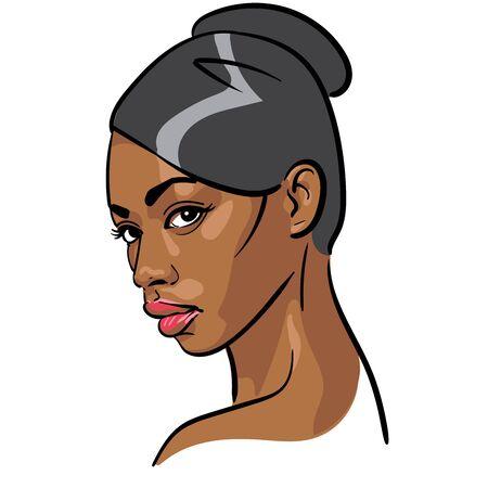 African Woman face. Portrait cartoon style. Vector. Illustration. Vector Illustratie