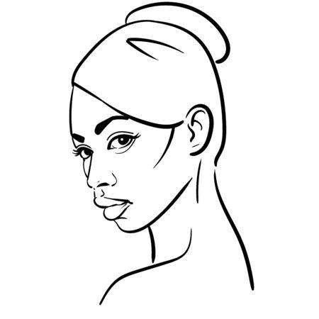 African Woman face. Portrait cartoon black and white style. Vector. Illustration. Ilustração