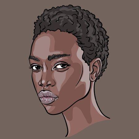 African Woman face. Portrait cartoon style. Vector. Illustration. Ilustração