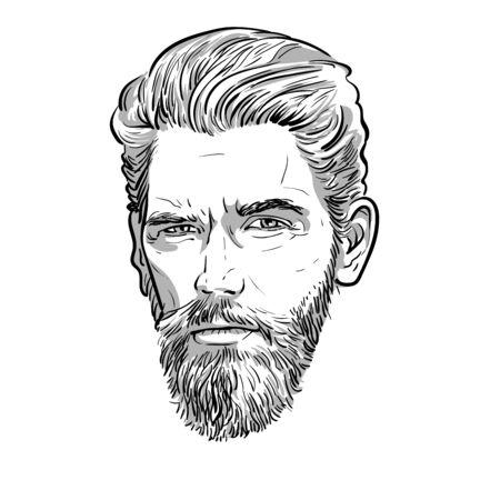 Bearded stylish man portrait. Lineart Vector. Illustration. Ilustração