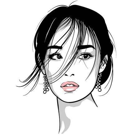 Asiatisches Mädchenporträt. Vektor. Schwarz-Weiß-Tintenstil. Illustration.