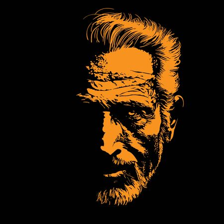Old Man portrait silhouette in backlight. Contrast face. Vector. Illustration.
