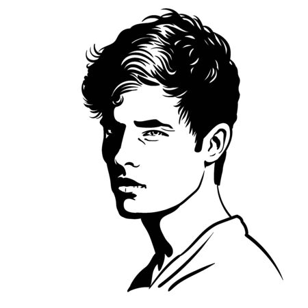 Young Man portrait. Black and white style. Illustration