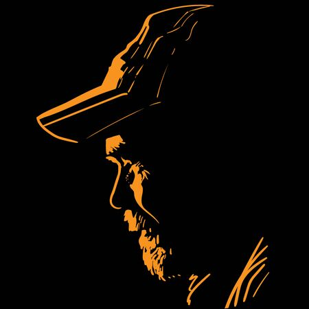Portrait in contrast backlight. Man with cap.