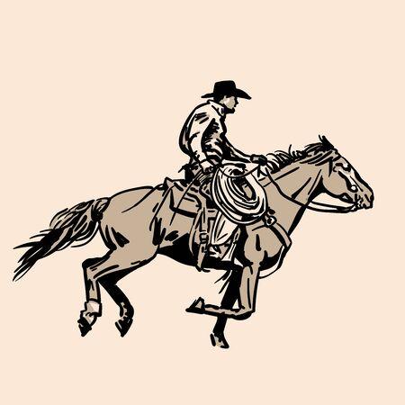 American cowboy riding horse and throwing lasso. Archivio Fotografico - 132138102