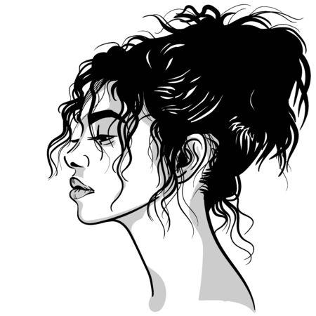 Beautiful woman portrait. Black and white style. Illustration