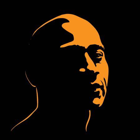 Brutal Man portrait silhouette contrast in light
