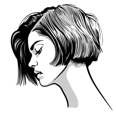 Beautiful woman portrait. . Black and white style.