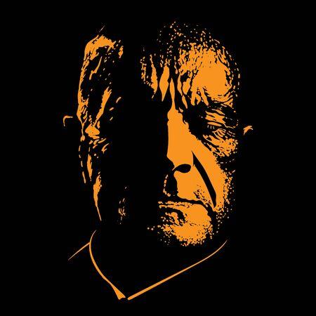 Old sad man portrait in contrast backlight Vector Ilustração