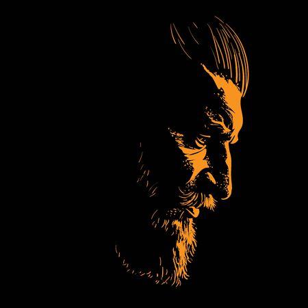 Brutal bearded man portrait in backlight. Vector Illustration