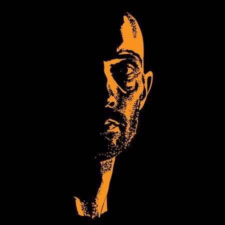 Portrait d'homme brutal en contre-jour contrasté. Vecteur.