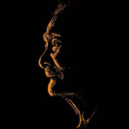 Old asian woman portrait in contrast backlight.