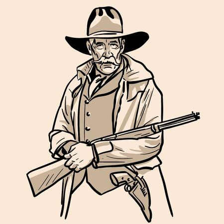 Old sheriff with a hat and rifle. Cowboy face.