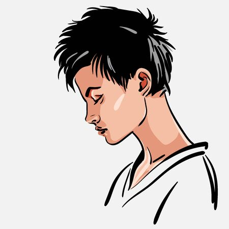 Woman portrait Girl with short hair looking down Illustration