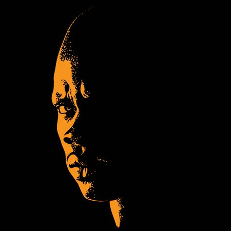 African Brutal Bald Man portrait silhouette in contrast backlight. Vector.