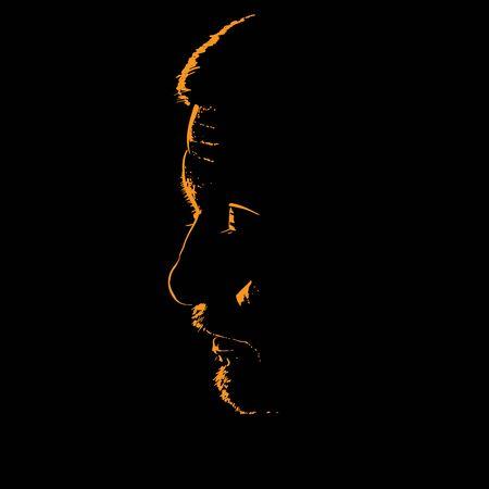 Man portrait silhouette in contrast backlight. Ilustração
