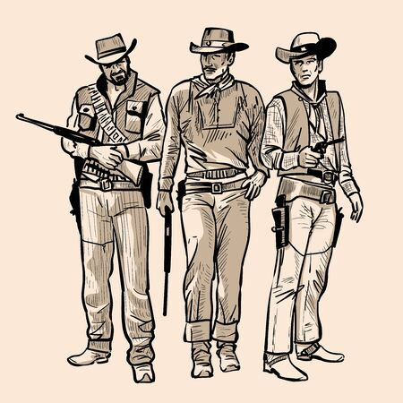Three cowboys with guns. Men with cowboy hats and rifle. Western Gunfighters. Digital sketch hand drawing vector. Illustration. Ilustração