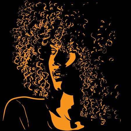 African pretty woman with afro hair style portrait silhouette in contrast backlight. Vector.