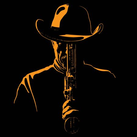 Man with cowboy hat and with a revolver. Portrait silhouette in contrast backlight. Vector. Illustration.