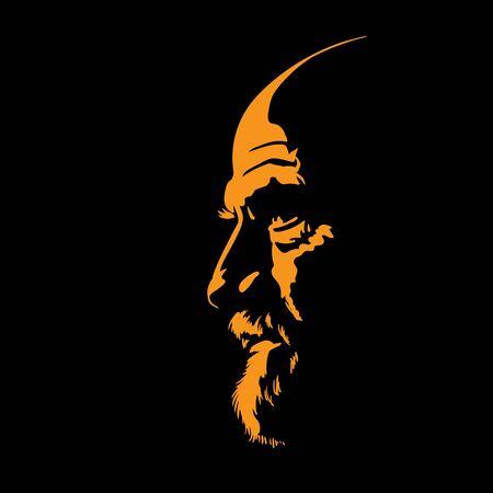 Bearded bald man portrait silhouette in contrast backlight. Vector. Illustration.